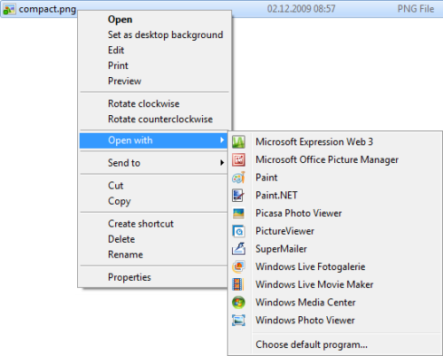 """Open with"" context menu in Windows Explorer"